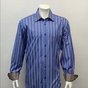 Bugatchi Uomo Blue Brown White Flip Cuffs Shirt